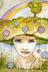 Keuken foto achterwand Schilderkunstige Inspiratie tęczowy portret młodej kobiety