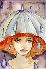 Keuken foto achterwand Schilderkunstige Inspiratie deszczowa dziewczyna