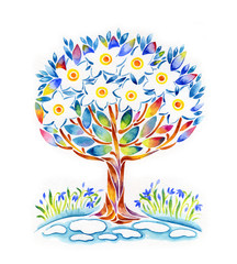 hand painted illustration: flowering tree