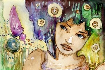 Keuken foto achterwand Schilderkunstige Inspiratie portret dziewczyny z motylem