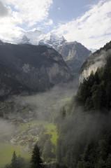 Lauterbrunnen valley under morning mist