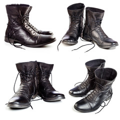 black leather boots on ahite background
