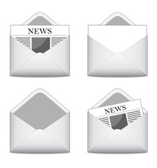 Set of envelops with news