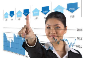 businesswoman looking at a finance chart