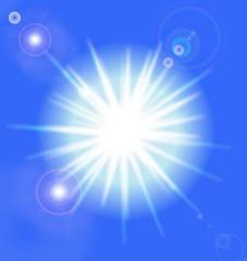 Vector sun on blue sky with lenses flare, eps10