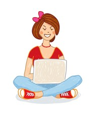Young a girl sitting on the floor and using laptop