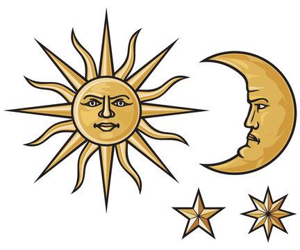 sun, crescent moon and stars