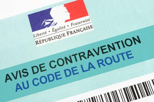 Avis de contravention code de la route