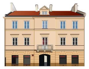 Neoclassical facade illustration