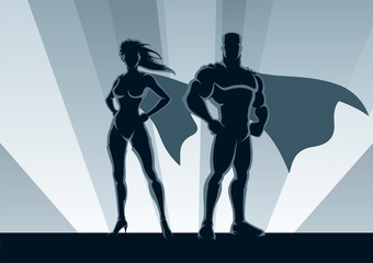 Printed roller blinds Superheroes Superhero Couple