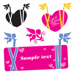 cupid banner. valentine's day banner vector set