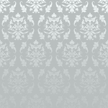 Silver Seamless Damask Pattern