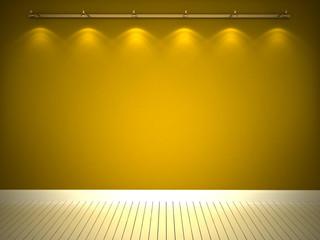Illuminated yellow wall and white floor