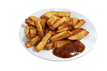 Plate of fried French fries with bright red sauce