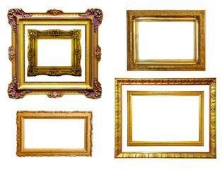 Set of gilded frames. Isolated over white background