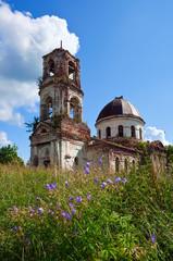 Old deserted church in Novgorod region, Russia