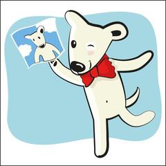 cartoon funny dog with photocard