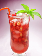 fruit cold juice drink with wild strawberry