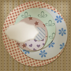 vector lacy napkin on retro cicle patterns, can be used separate