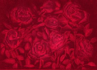 red roses pensil draw dark floral vintage background