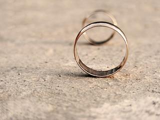 Wedding rings. Sepia style.