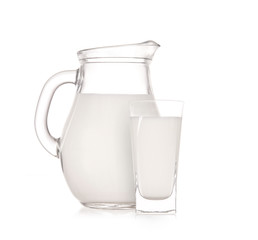 Milk jug with glass over white background
