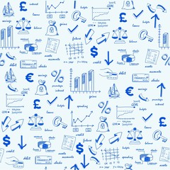 Hand Drawn Seamless Finance Icons