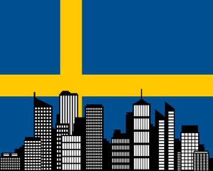 City und Fahne von Schweden