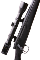 black hunting rifle with optics isolated on white