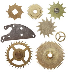 set gears clock mechanism isolated on white background