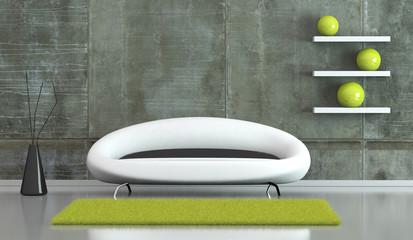 Wohndesign - modernes Sofa vor Betonwand