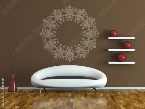 wohndesign modernes sofa vor brauner wand stockfotos und lizenzfreie bilder auf. Black Bedroom Furniture Sets. Home Design Ideas