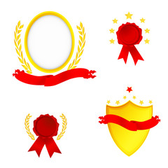 Set vector shields, ribbons and golden laurel wreaths.