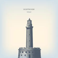 Engraving vintage lighthouse.