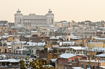 Rome's cityscape with snow