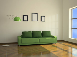 Interior with a green sofa and a floor lamp