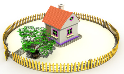 Plastic toy house on a white background №1
