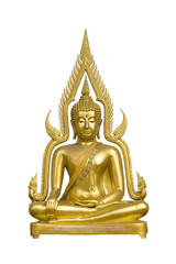 Golden buddha image on white background