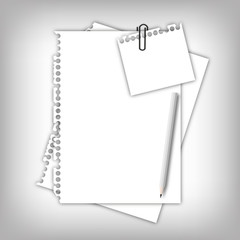 Paper sheet page and note pad with pencil.