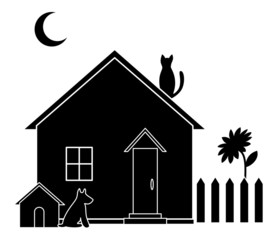 Small house, silhouette