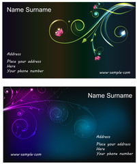 Floral glowing business cards
