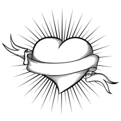 Heart with ribbon in tattoo style.