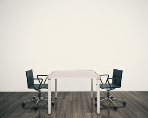 minimal modern interior office table and chairs