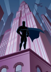 Fotobehang Superheroes Superhero in City