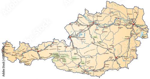 Landkarte Von österreich Mit Verkehrsnetz In Gruen Stockfotos Und