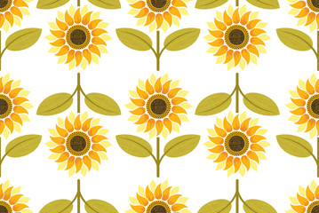 yellow sunflower seamless pattern