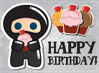 Happy birthday card with cute ninja