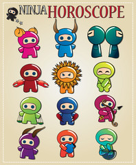 Zodiac signs with cute ninja characters in different colors
