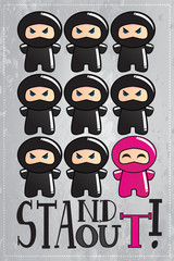 Card with cute ninja with a message to be unique