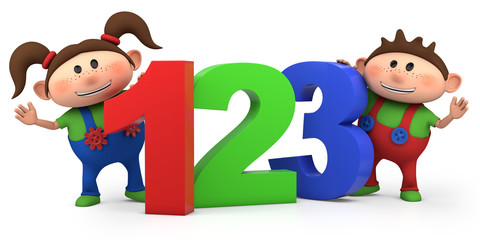 boy and girl with 123 numbers Wall mural